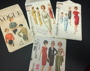 Authentic Vintage 1960's Paper Dress Patterns x 4