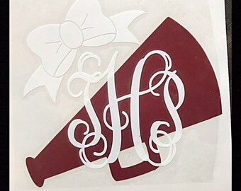 Monogrammed Cheer Decal/Sticker - Many Sizes Available- Personalize Any Item