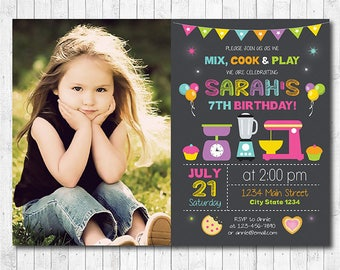 Mix and Cook Invitation, Chef Invitation, Chef Invite, Cooking Invitation, chalkboard, girls invitation, photo invitation, printable invite