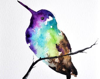 PRINT Of Watercolor Painting, Colorful Hummingbird 6x8 inch