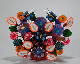 CLAY TREE of LIFE, 100% handmade, colorful mexican folk art, clay pottery