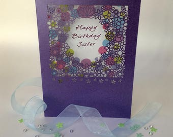Sister Birthday Card Delicate Lace Style Card Family Birthday Sister Birthday Purple