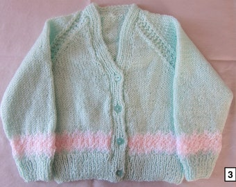 Hand knitted baby cardigan, 0-3 months, knit baby sweater, knitted baby clothes, knit newborn cardigan, green