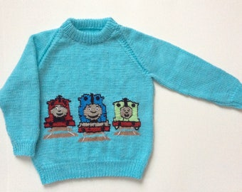 """Hand Knitted Thomas and Friends Sweater, Kids, Toddler, Chest 24"""""""