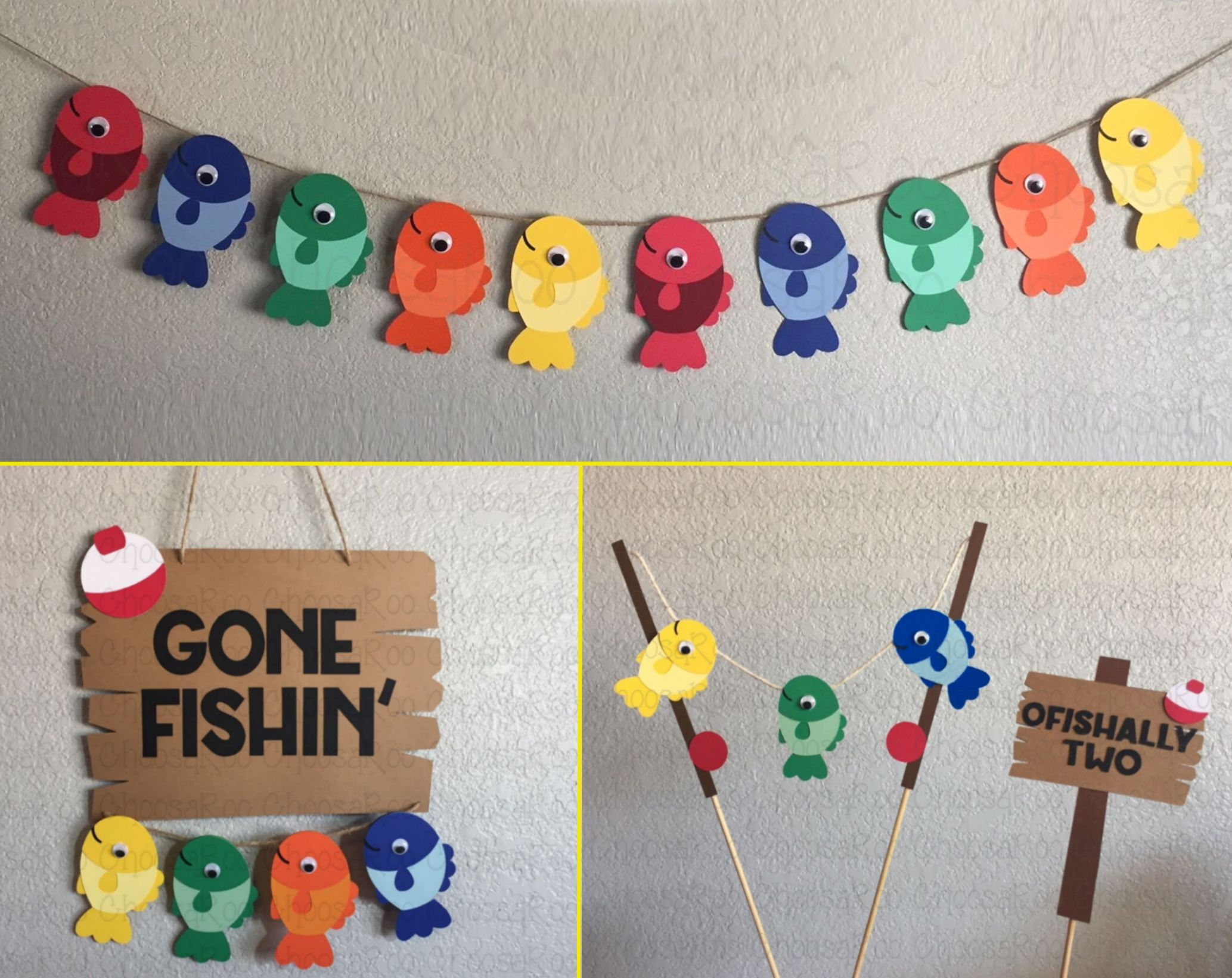 Fishing party decorations package fish bobber handmade for Fish party decorations