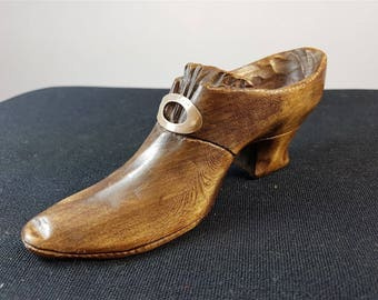 Vintage Miniature Flapper Shoe Carving Hand Carved Wood with Sterling Silver Shoe Buckle 1920 Signed and Dated by Artist Hand Made