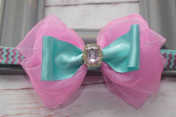 Special occasion pink and aqua green bow headband - Baby / Toddler / Girls / Kids Headband / Hairband / Hair bow / Barrette / Hairclip