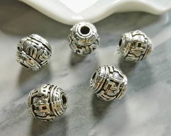 20Pcs  Tibetan Beads Nickel Free Plated Tibetan Silver Tone Beads  Diy supplies
