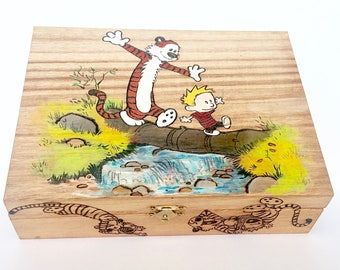 Calvin and Hobbes Inspired Hand-Burned Hand-Painted Wood Memory Treasure Keepsake Box