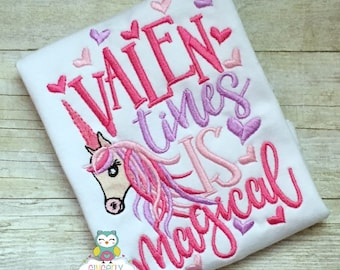 Valentines is Magical Unicorn Shirt or Bodysuit, Valentine Unicorn Shirt, Girl Valentine Shirt, Unicorn Shirt for Valentine's Day