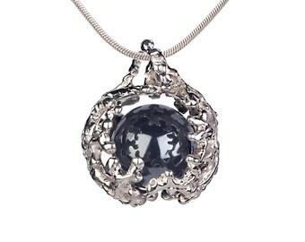 CORAL NEST Hematite Pendant Necklace, Hematite Stone Pendant, Sterling Silver Black Stone Necklace, Hematite Jewelry, Organic Pendant