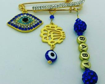 Mashallah pin, Allah stroller pin, evil eye pin, islamic baby gift, muslim baby gift, stroller pin, baby pin, name pin, personalized pin