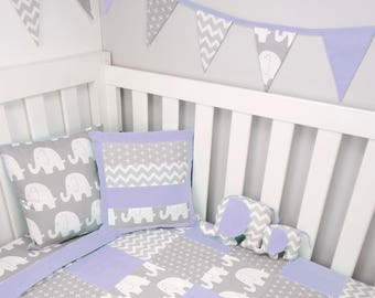 Patchwork cot quilt in Purple and Grey Elephants