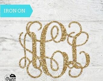 Vine Monogram - Iron On - Decal - Applique - Circle Monogram - Personalized Monogram - Shirt - Tank Top - Bachelorette Party - Bridal Party