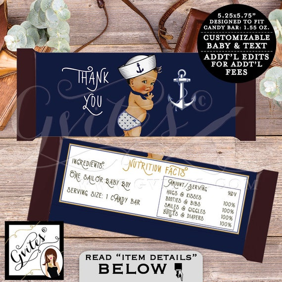Candy bar wrappers little sailor BABY BOY, hershey chocolate customizable wrapper, ahoy it's a boy, nautical theme. 2-Per/Sheet {You Print}
