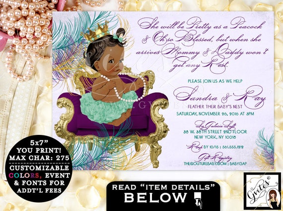 Peacock BABY SHOWER invitation, purple lavender gold teal green, princess baby shower, African American baby shower girl, tutus pearls. 7x5.
