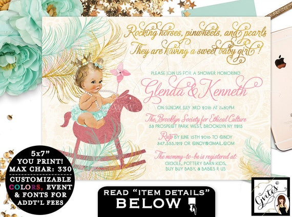 Rocking horse BABY SHOWER, mint green baby shower invitation, pink and gold, princess baby vintage, customizable invites, PRINTABLE 7x5