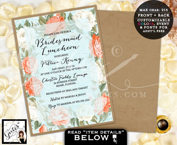 Bridesmaid luncheon invitation bridal shower, bridal brunch invitations, rustic, shabby chic, bridal lunch, peony, invites, watercolor.