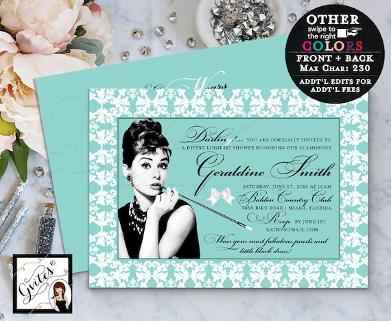 Lingerie Shower Breakfast at Tiffany's Invitation, Audrey Hepburn personalized invites, little black dress, double sided, 5x7. PRINTABLE