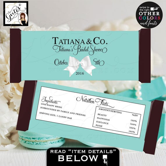 "Candy Bar Wrapper bridal shower wrappers, Breakfast at Tiffany's Bride and Co labels Customizable colors & text.  {2 Per/Sheet 5.25 x 5.75""}"