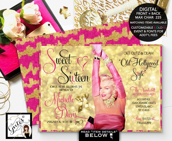 Marilyn Monroe Invitations, pink and gold sweet 16 glitz glam, quinceanera quince old hollywood style, sweet sixteen, 5x7 double sided
