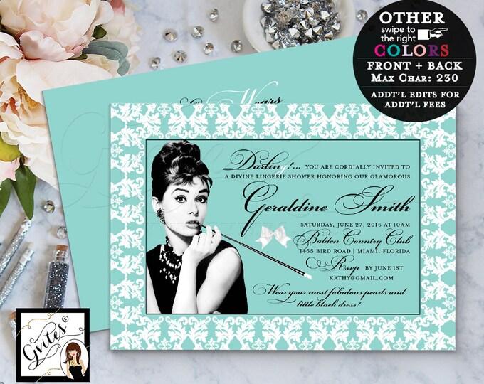 Lingerie Shower Breakfast Bridal Shower Invitation, Audrey Hepburn invites, little black dress, double sided, 5x7. PRINTABLE