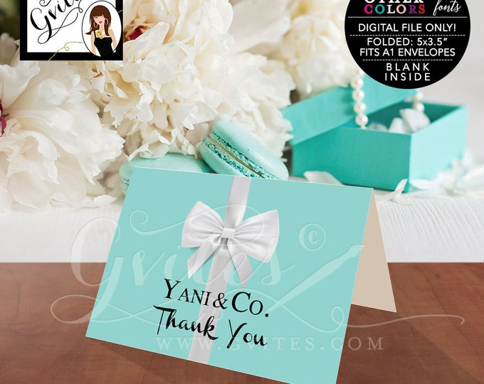 """Thank You Card Breakfast at blue theme bridal shower, baby birthday sweet 16. Digital file only.  5x3.5"""" 2 Per/Sheet"""