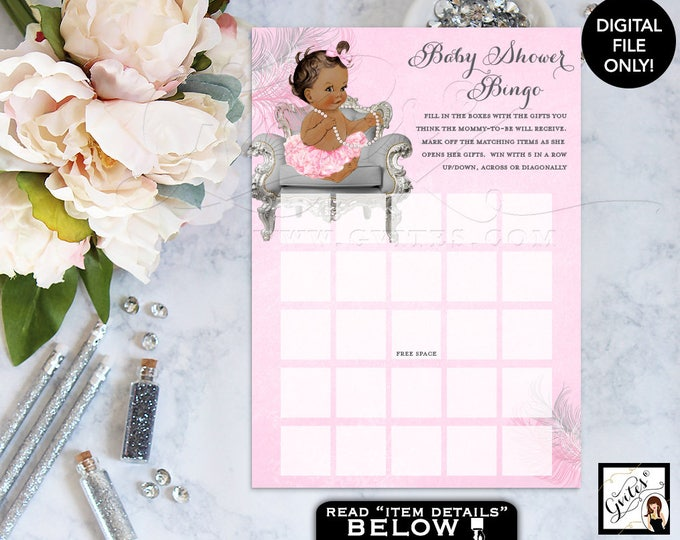 Pink and Silver Baby Shower Games princes bingo, card vintage baby silver and pink, ethnic baby girl ruffles bows. 5x7/2 per sheet
