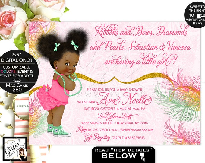 Mint And Gold Baby Shower Invitation, Mint Green, Yellow Gold Glitter, Afro  Puffs
