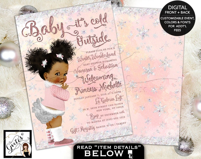 Winter Wonderland Baby Shower, Pink and Silver, Baby it's Cold Outside Invitations, African American puffs, 5x7 double sided, DIY, DIGITAL!