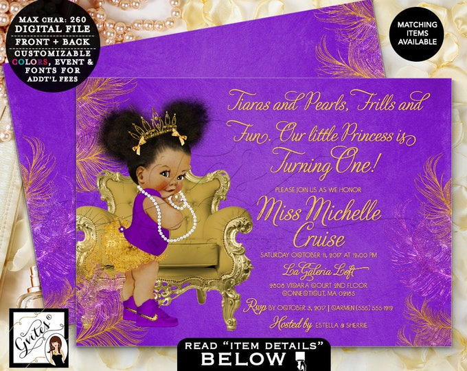 Purple & Gold First Birthday Invitation, Princess African American Baby Girl, Afro Puffs Gold Tiara, Double sided, DIGITAL FILE! 7x5