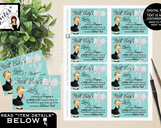 Book For Baby Shower Inserts, Stock Baby's Library Baby & Co Baby Shower Party Printable. 3.5x2.5, 8/Sheet.  #BATGBB102