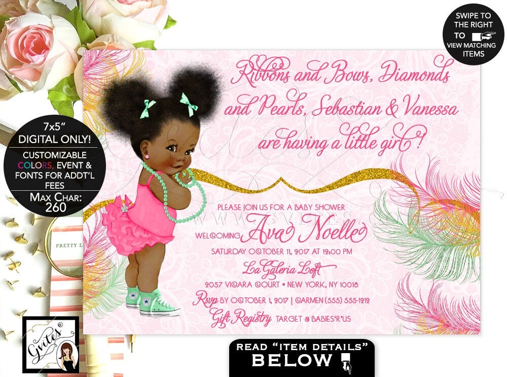 Mint And Gold Baby Shower Invitation, Mint Green, Yellow Gold Glitter, Afro  Puffs African American Baby Girl Invitations. Digital File Only!