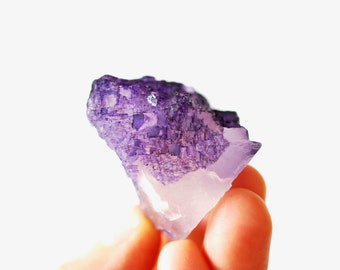 Raw Purple Fluorite Crystal, Reiki Rainbow Gemstone, Violet Crystal For Aura Cleansing and Protection  EF35