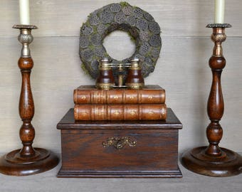 Pair Of Antique English Baluster Candlesticks With Scottish Thistle Tops