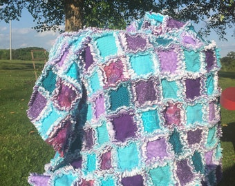 Purple & teal blue rag quilt