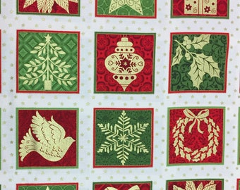 Christmas squares - gift advent calendar coordinating fabric [[red//green//gold]]