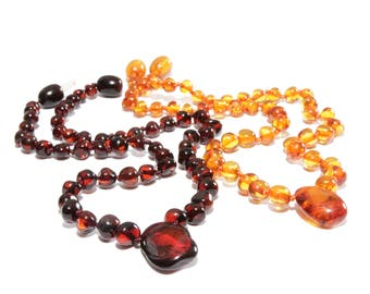 Genuine Baltic Amber Baby Teething Necklace With Pendant Polished Beads 31 - 32 cm/ 12.2 - 12.6 in