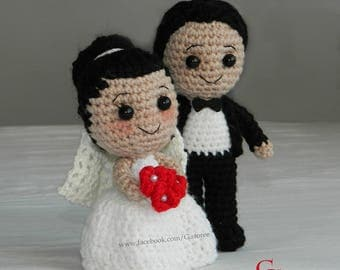 Crochet wedding gift etsy bride and groom amigurumi crochet doll pdf pattern the perfect wedding gift couples marriage gift negle Gallery