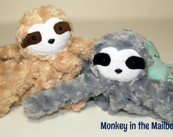 Sloth Lovey Blanket, minky security blanket, Lovie Stuffed Animal toy, baby shower gift, Easter, first birthday gift, custom Valentine plush