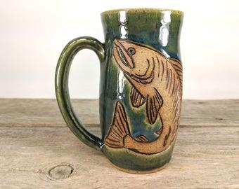Fish Mug 16 oz  - Nature Lovers Gift - Gone Fishing - Outdoorsy Gift - Salmon Gift - Nature Inspired - Fisherman Gift - Mesiree Ceramics