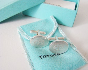 Vintage Tiffany & Co Sterling Silver Cuff links Monogrammed CBI
