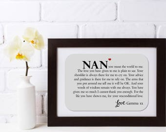 Personalised Framed Grandmother Poem - Unconditional Love