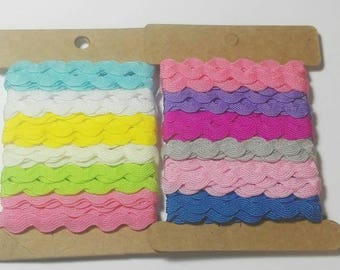 12Y x8mm Ric Rac Grosgrain in 12 different color Scrapbooking