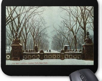 Winter Central Park NY Vintage c1910 Mousepad