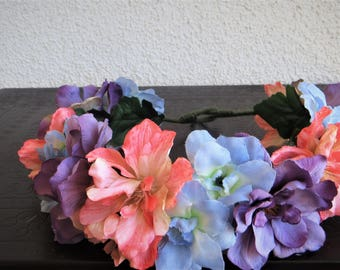 Pink, purple and blue crown