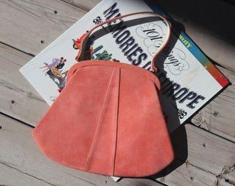 NEVER USED! 1940s 50s Peach Orange Suede Gold Tone Melbourne Purse Handbag Pocketbook