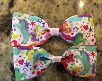 Unicorn Pony Hair Bows
