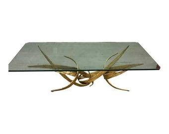 Silas Seandel Brutalist Mid Century Modern Gold Coffee Table Torch Cut Steel w Glass Top