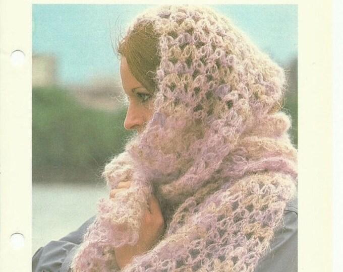 Retrocon Sale - Beautiful mohair scarf beginners crochet pattern digital download